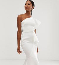 True Violet Exclusive One Shoulder Asymetrical Midi Dress In White