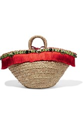 Dolce And Gabbana Leather Trimmed Embellished Woven Straw Tote Beige Red