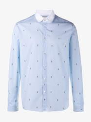Gucci Floral Embroidered Cotton Shirt Blue Red Green White Brown