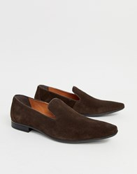 Pier One Slipper Loafers In Brown Suede