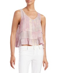 Design Lab Lord And Taylor Tie Dye Flared Tank Top Pink