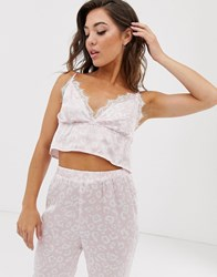 Missguided Pyjama Set With Cami Barlet And Joggers In Leopard Pink
