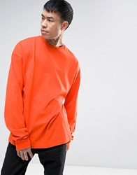 Asos Oversized Long Sleeve T Shirt With Super Long Sleeves In Orange Viz