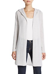 Cashmere Saks Fifth Avenue Open Front Hooded Cardigan Light Grey Heather