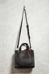 Forever 21 Faux Leather Crossbody Satchel Black