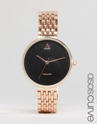 Asos Curve Large Face Watch With Skinny Bracelet Strap Rose Gold Copper