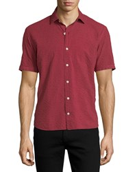 Culturata Striped Short Sleeve Sport Shirt Red