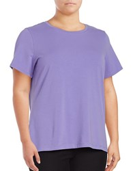 Lord And Taylor Plus Short Sleeve Crewneck Tee Purple