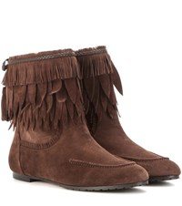 Aquazzura Tiger Lilly Suede Ankle Boots Brown