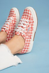 Anthropologie Superga Gingham Calico Sneakers Red