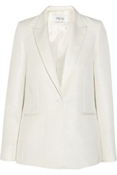 Pallas Chimere Brushed Satin Trimmed Faille Blazer White