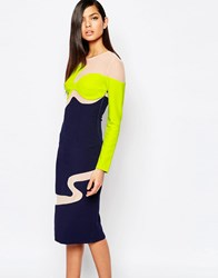 The 8Th Sign Color Block Pencil Dress With Mesh Inserts Multi