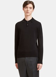 Oamc Palm Long Sleeved Polo Sweater Black