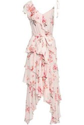 Lover Woman Tiered Floral Print Crepe Dress Pastel Pink