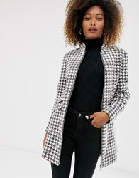 Stradivarius Coat With Pu Piping In Dog Tooth Multi
