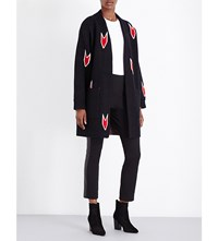 Rag And Bone Jackson Intarsia Arrow Print Wool Cardigan Black