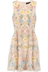 Needle And Thread China Rose Embellished Chiffon Mini Dress Ecru