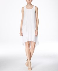 Kensie Sleeveless Pleated High Low Dress White