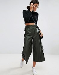 Asos Frill Side Leather Look Culotte Trousers Khaki Green