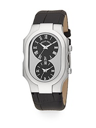 Philip Stein Teslar Signature Stainless Steel Dual Time Embossed Leather Strap Watch Black