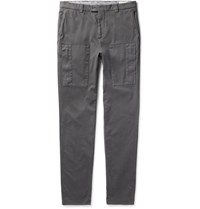 Brunello Cucinelli Garment Dyed Stretch Cotton Twill Trousers Anthracite