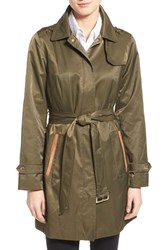 Women's Jones New York Faux Suede Trim Trench Coat Dusty Olive