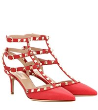 Valentino Rockstud Leather Kitten Heel Pumps Red