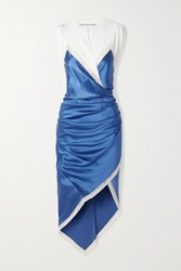 Alexander Wang Wrap Effect Layered Lace Trimmed Silk Satin And Cotton Jersey Dress Azure