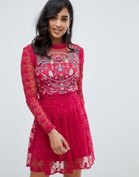 Frock And Frill Embroidered Lace Prom Skater Dress In Berry