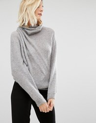 Sisley Jumper In Turtle Neck With Drape Detail Grey