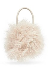 Loeffler Randall Zadie Feather Embellished Leather Tote Taupe