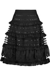 Temperley London Sea Ruffled Silk Trimmed Mesh Paneled Cotton Skirt Black