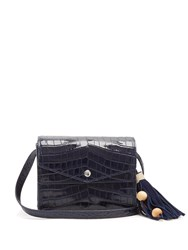 Elizabeth And James Eloise Crocodile Effect Leather Cross Body Bag Navy