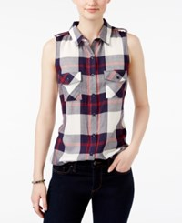 Stoosh Juniors' Sleeveless Plaid Top Patriot Plaid