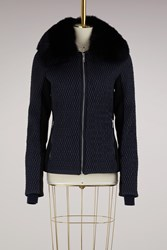 Fusalp Montana Fitted Jacket With Fox Collar Dark Blue