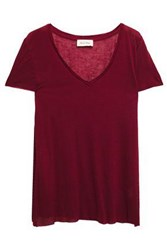 American Vintage Woman Ohio Modal And Wool Blend Jersey T Shirt Merlot