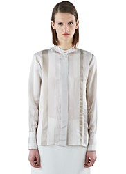 Ilaria Nistri Long Satin Striped Shirt Natural