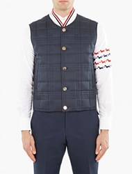 Thom Browne Navy Down Quilted Gilet