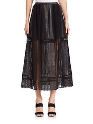 Thakoon Crochet Inset Leather Maxi Skirt Black
