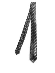 Saint Laurent Striped Jacquard Silk Tie Black Multi