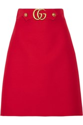 Gucci Embellished Wool And Silk Blend Skirt Red
