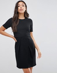 Asos Double Layer Textured Mini Wiggle Dress Black