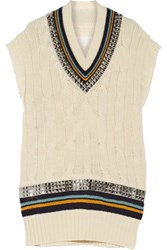 Maison Martin Margiela Embellished Cable Knit Wool Mini Dress Cream