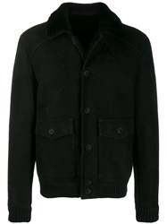 Salvatore Santoro Sheepskin Bomber Jacket Black