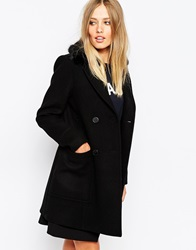 Whistles Trudie Faux Fur Trim Pea Coat Black