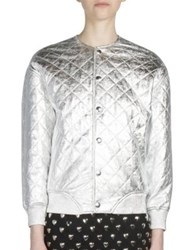 Saint Laurent Metallic Quilted Leather Bomber Jacket Silver