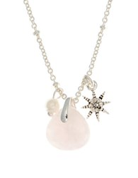 Lonna And Lilly 4Mm Faux Pearl Reconstituted January Birthstone Charm Necklace Pink