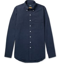 Drakes Easyday Slim Fit Button Down Collar Herringbone Cotton Shirt Navy