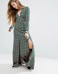 Nobody's Child Split Front Maxi Skirt In Disty Floral Co Ord Green