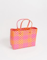 South Beach Woven Pink And Orange Tote Bag Multi